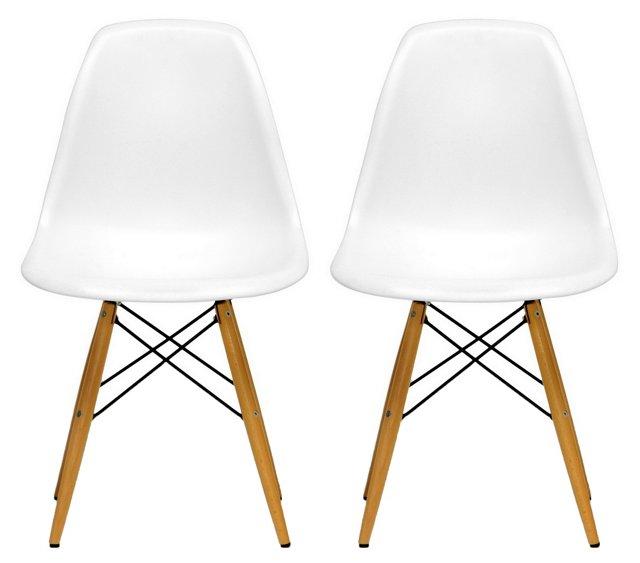 DNU, IK-White Amanda Accent Chairs, Pair