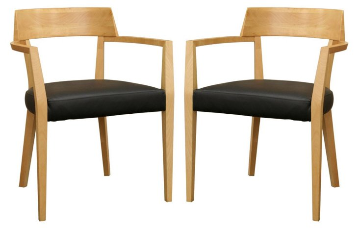 Natural Laine Dining Chairs, Pair