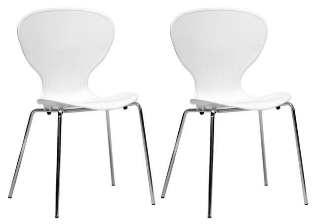 White Keenan Dining Chairs, Pair