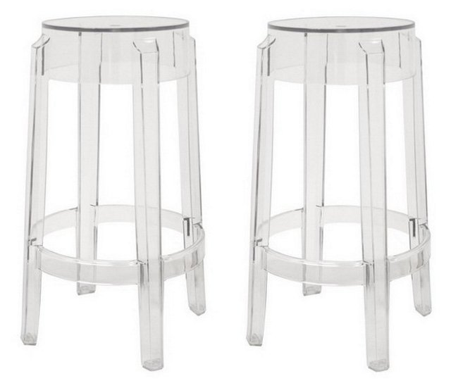 Clear Bettino Counter Stools, Pair