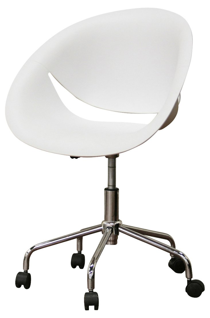 Justina Office Chair, White/Silver