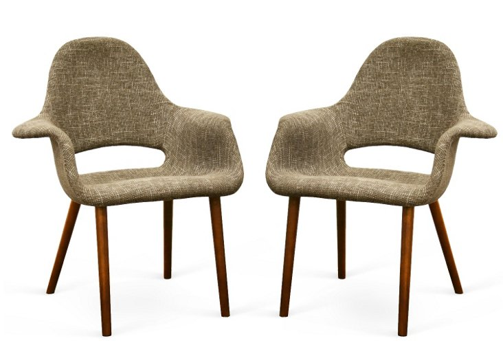 Taupe Forza Modern Armchairs, Pair
