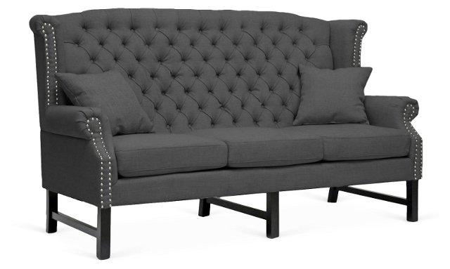 Keelan Linen Sofa, Dark Gray
