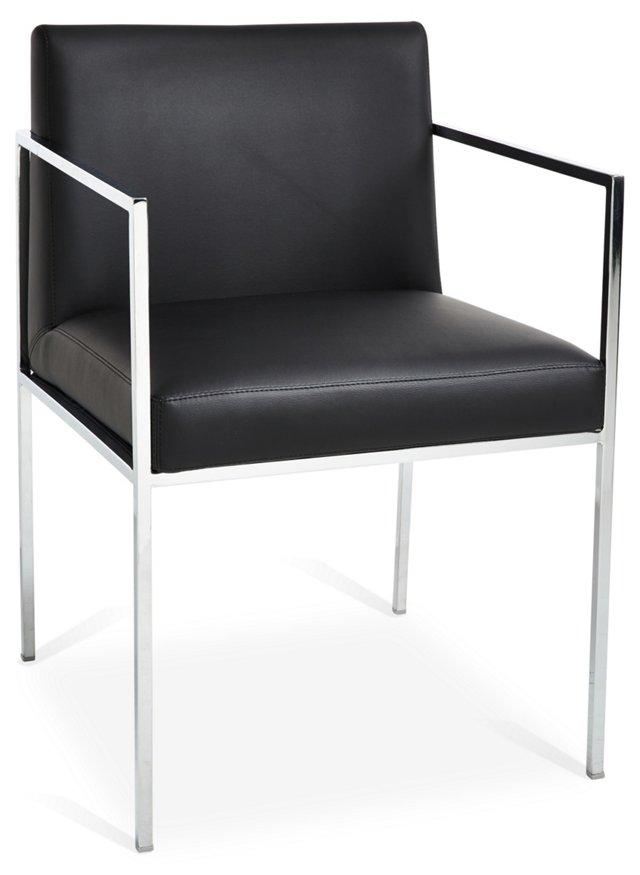 Emory Minimalist Chair, Black Leather