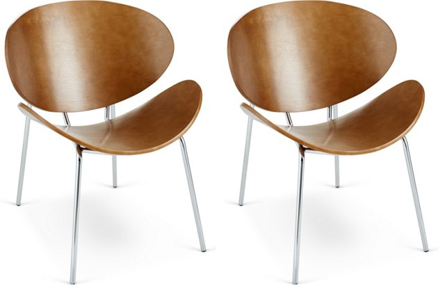 Walnut Angelina Accent Chairs, Pair