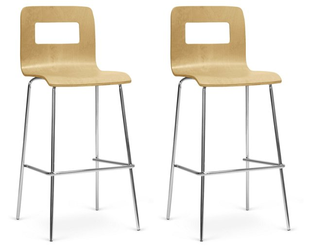 Natural Sofia Barstools, Pair