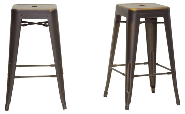 Copper Industrial Counter Stool, Pair