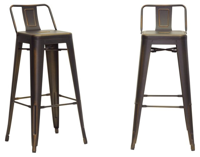 DNU. R-Copper Laney Counter Stools, Pair