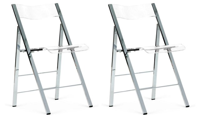 Acrylic Foldable Accent Chairs, Pair