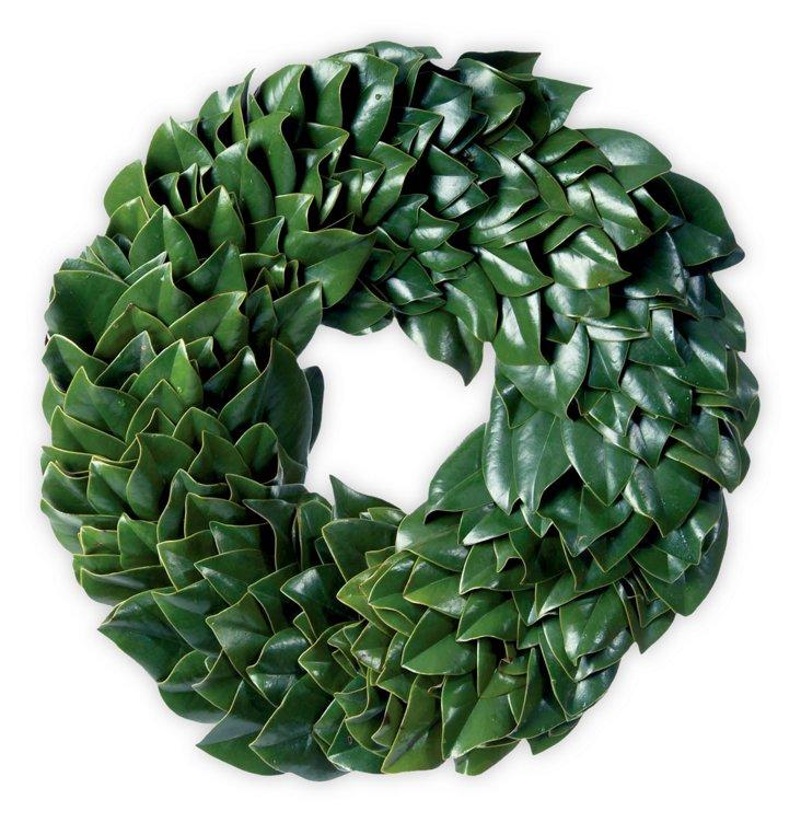 "24"" Green Magnolia Wreath, Dried"