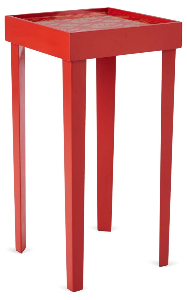 Kenneth Side Table, Gold/Coral