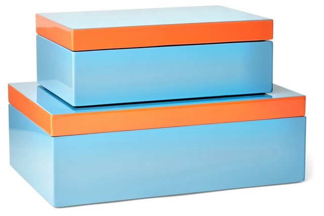 Asst. of 2 Hinged Wood Boxes, Teal