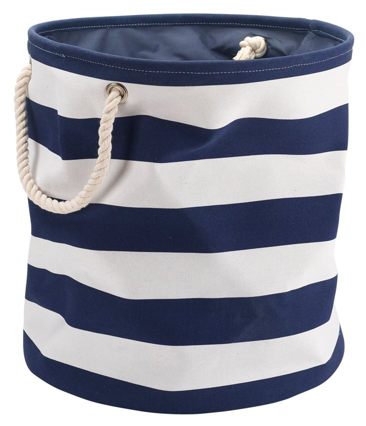Striped Canvas Laundry Bag, Navy