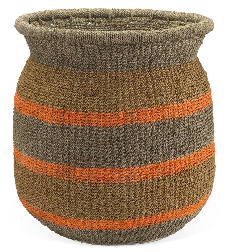 Striped Jute Storage Basket