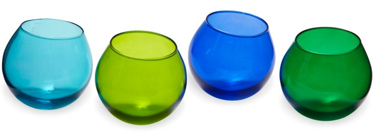 Cool-Color Wobbly Tumblers, Set of 4