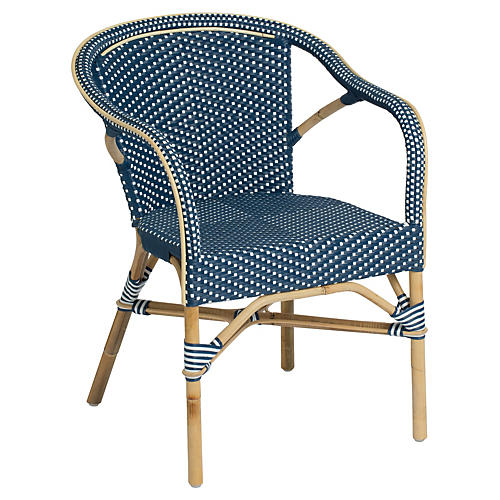 Madeleine Outdoor Bistro Armchair, Navy