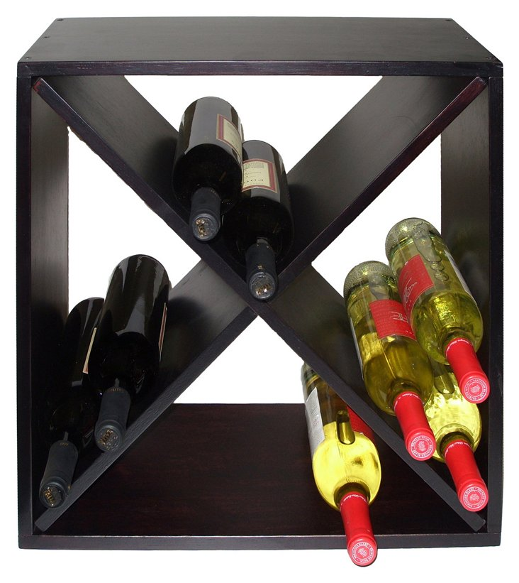 24-Bottle Diamond Bin Wine Rack, Black
