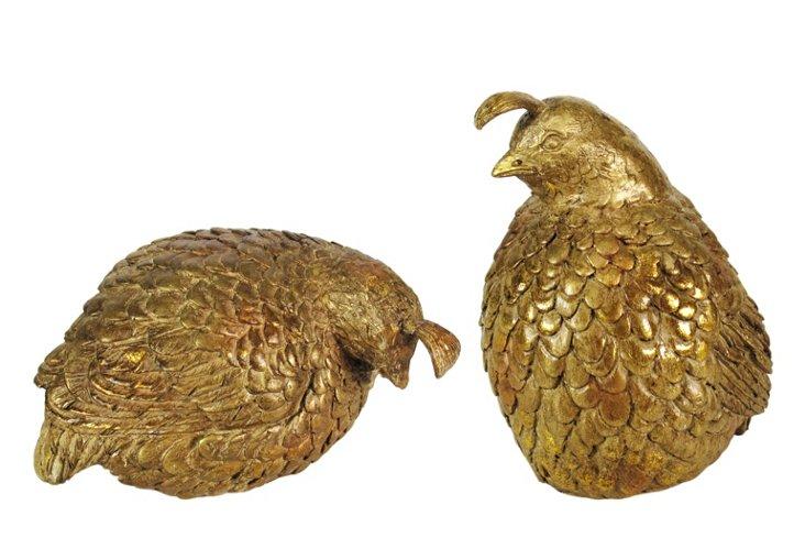 Asst. of 2 Quail Figurines, Gold