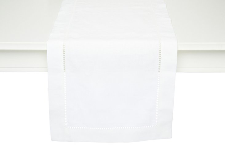 "14"" x 90"" Linen Table Runner, White"