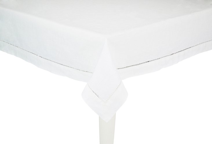 Large Linen Tablecloth, White