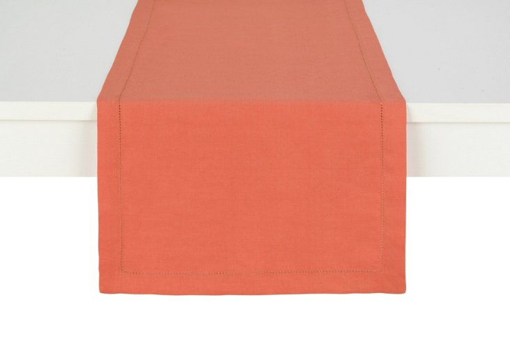 Linen Table Runner, Coral
