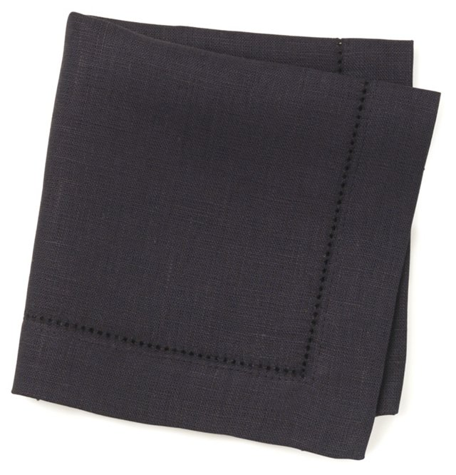 S/6 Linen Cocktail Napkins, Navy