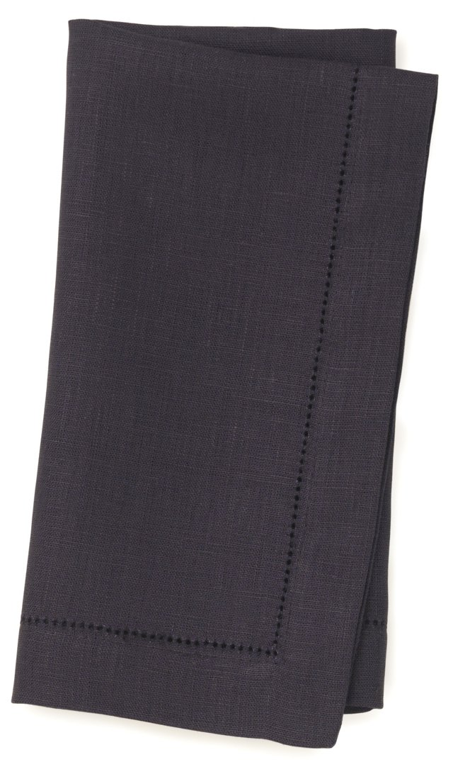S/4 Linen Dinner Napkins, Navy