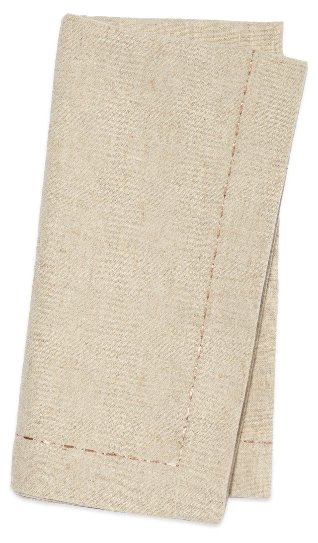 S/4 Linen Napkins, Flax w/ Copper Thread