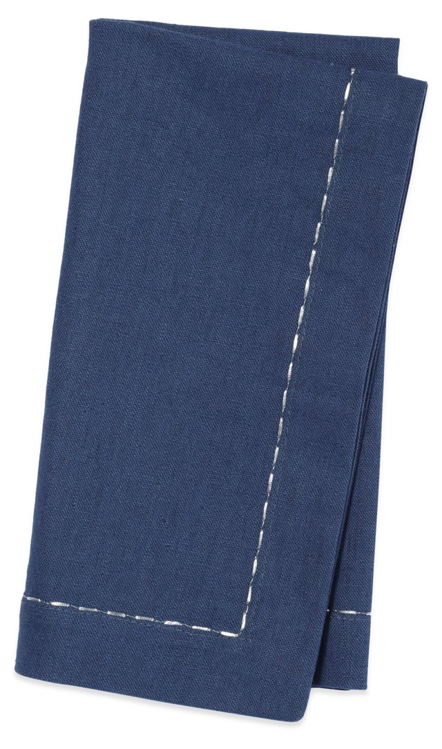 S/4 Linen Napkins, Navy w/ Silver Thread