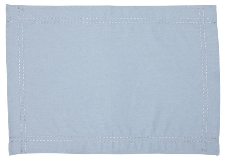 S/4 Heirloom Hemstitch Place Mats,  Blue