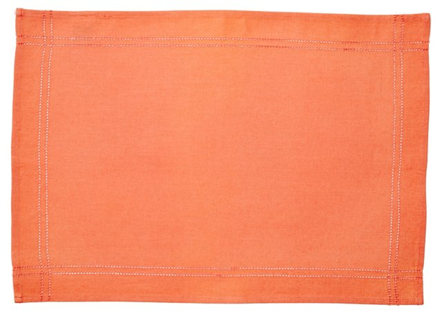S/4 Heirloom Hemstitch Place Mats, Coral