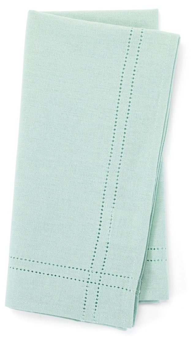 S/4 Heirloom Hemstitch Napkins, Mint