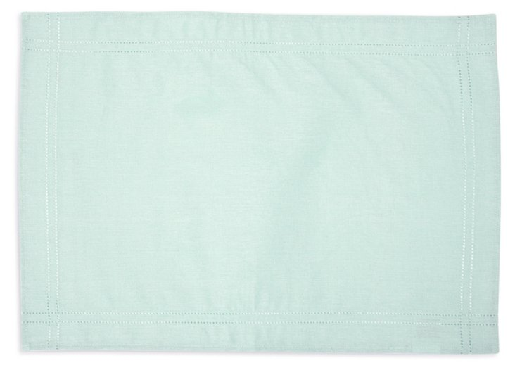S/4 Heirloom Hemstitch Place Mats, Mint