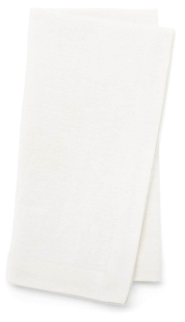 S/4 Topstitch Dinner Napkins, White