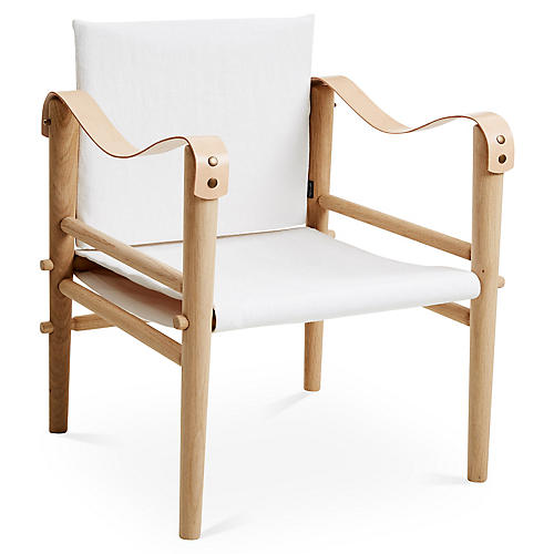 Toulouse Accent Chair, White Linen
