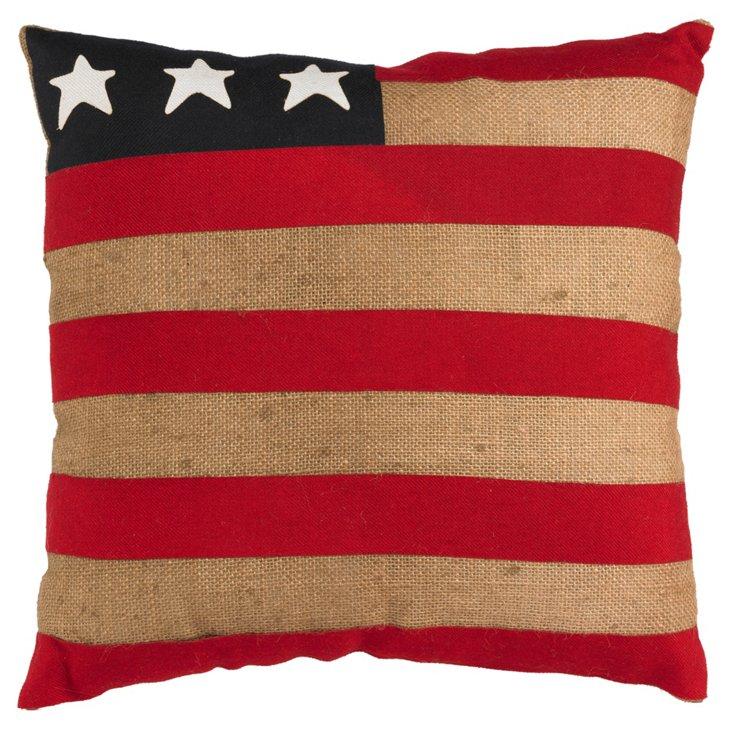 American Flag Burlap Pillow