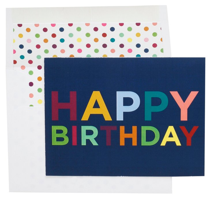 S/6 Birthday Cards, Blue