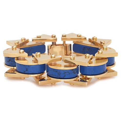 Striped Satellite Bracelet, Iris Blue