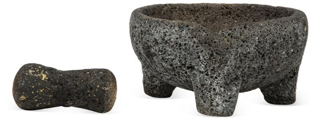 Lava Stone 3-Footed Bowl w/ Pestle