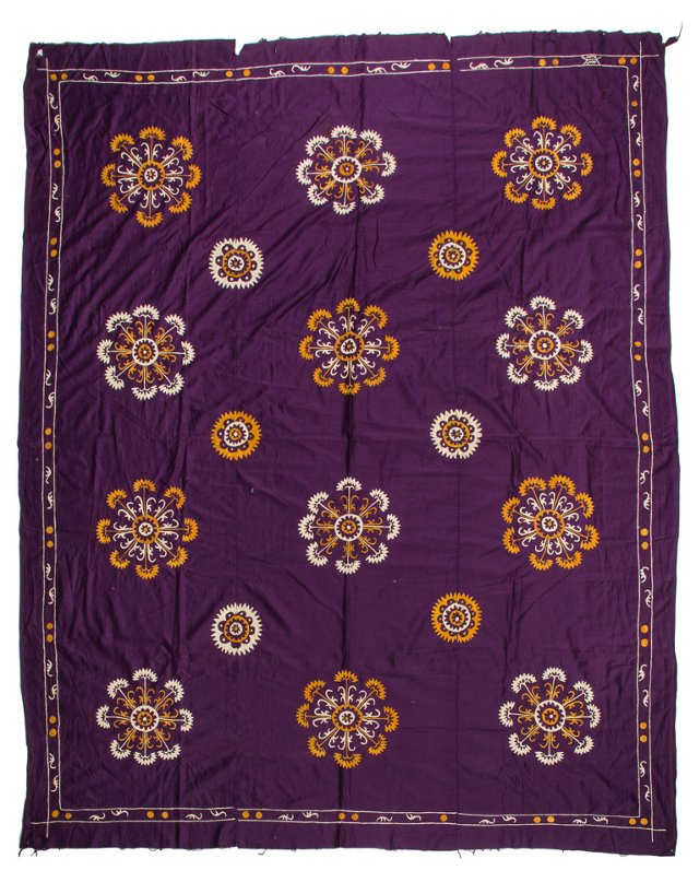 Purple Cotton Tajik Embroidery