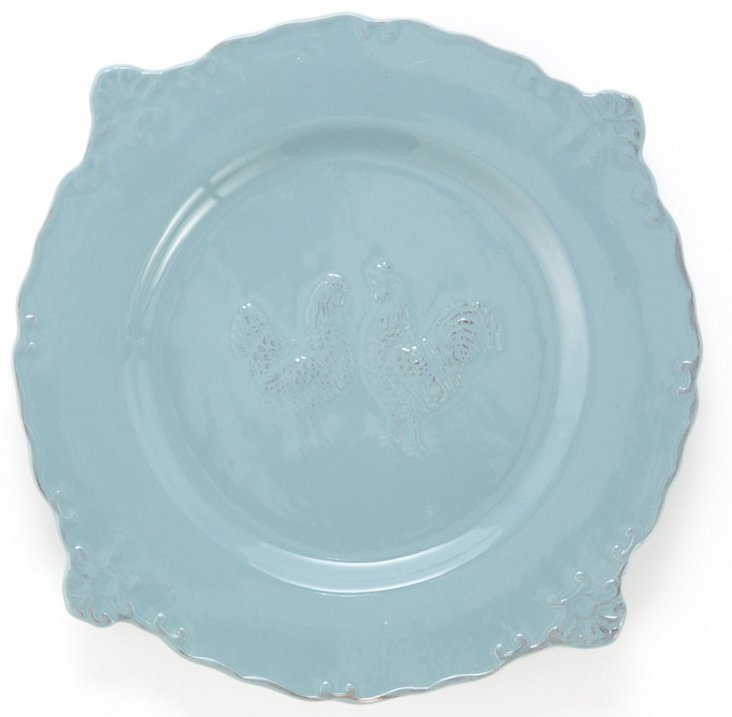 S/4 Rooster Dinner Plates, Blue