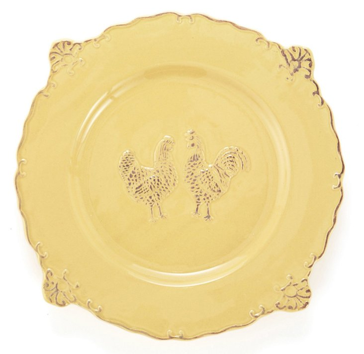 S/4 Rooster Dinner Plates, Yellow