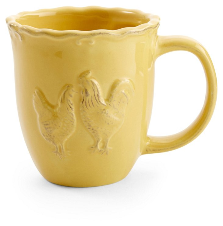S/4 Rooster Mugs, Yellow