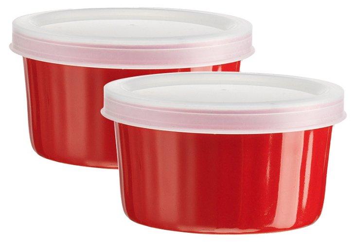 S/2 Storage Ramekins w/ Lids, Red