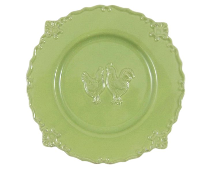 S/4 Rooster Salad Plates, Green