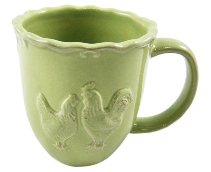 S/4 Rooster Mugs, Green