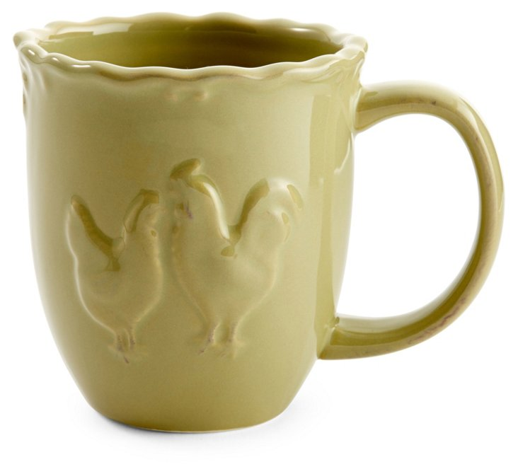 S/4 Ceramic Rooster Mugs, Green