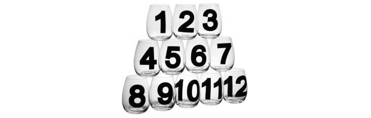 S/12 Numbered Stemless Wineglasses
