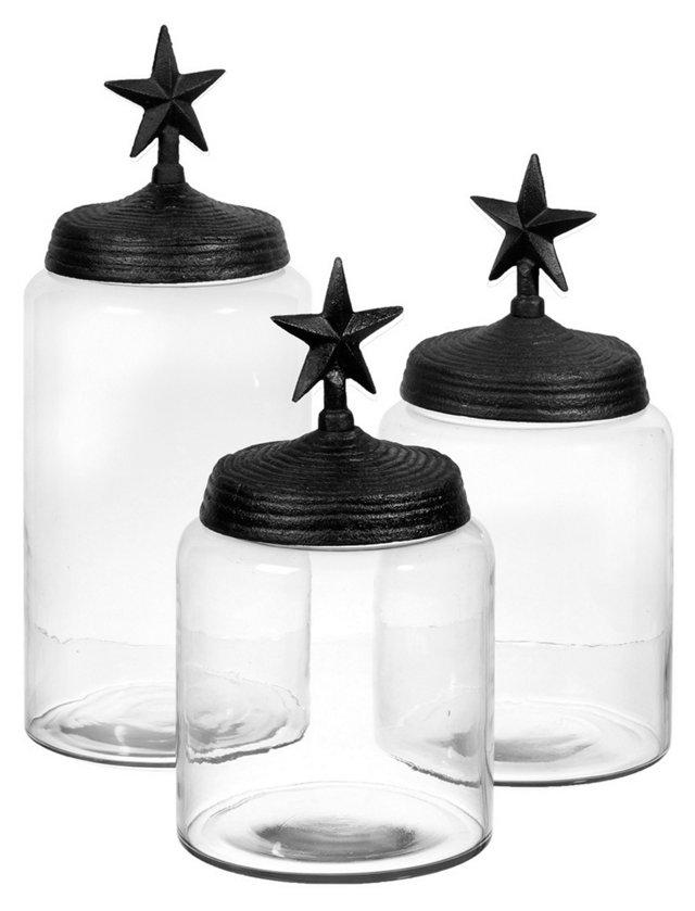 S/3 Assorted Star Glass Jars