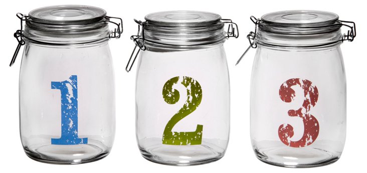 S/3 Numbered Bail & Trigger Jars, Multi